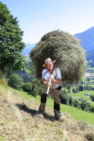 A Farmer wirh  fork over shoulder haymaking Standard-Bild - 98602322
