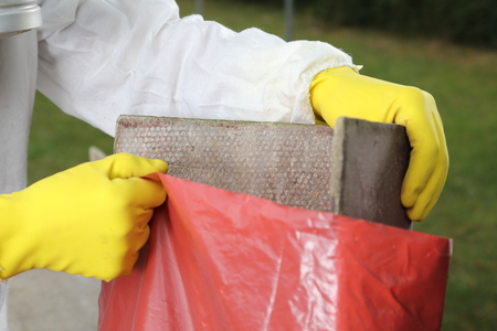 A Disposal of Asbestos Material close up Stockfoto