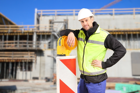 A Construction worker with safety euqipment