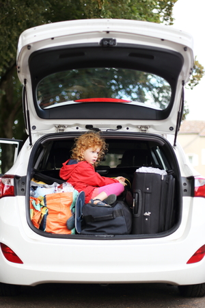 A Holiday with Children and car Standard-Bild - 121545885