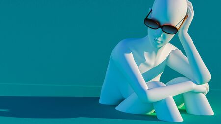 3d rendering of a mannequin sitting on a teal background, wearing sunglasses