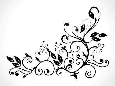 abstract black floral vector illustration