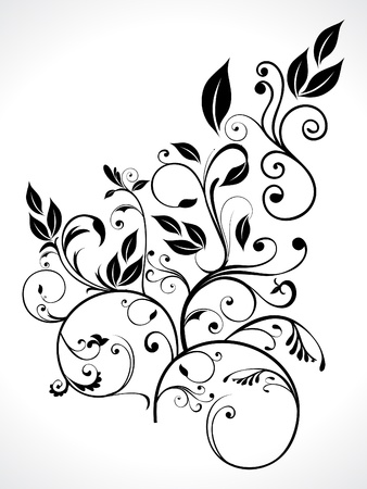 abstract floral with leaf vector illustration