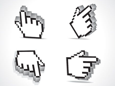 clique: abstract 3d hand cursor icon vector illustration Illustration