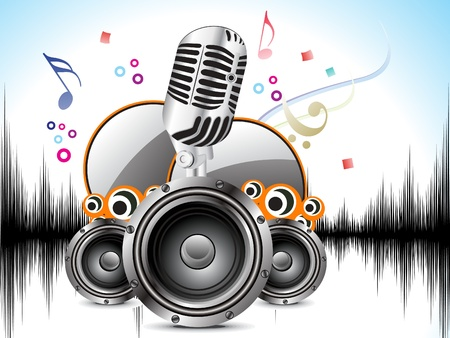 abstract musical background with mic & sound vector illustration  Illustration