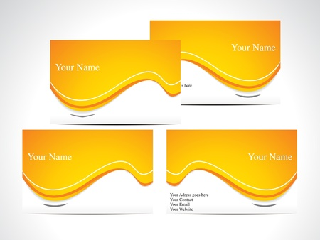 abstract orange business card vector illustration