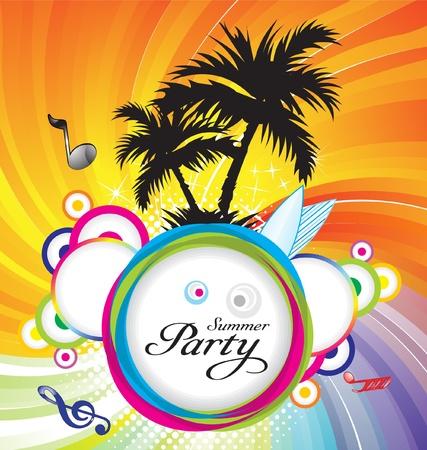 fiesta dj: Ilustración de vector verano abstracta parte fondo Vectores