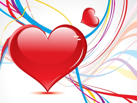 yelllow: abstract wave background with heart vector illustration