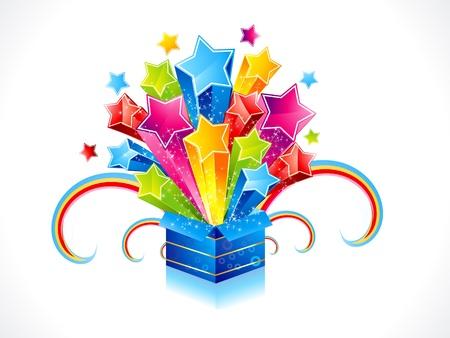 abstracte kleurrijke magische doos met ster