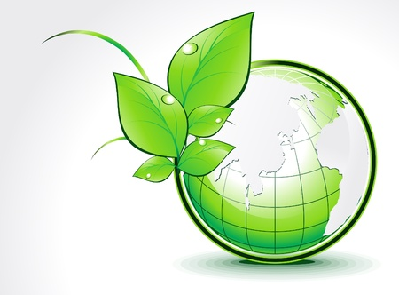 biologic: abstract green globe with leaf vector illustration  Illustration