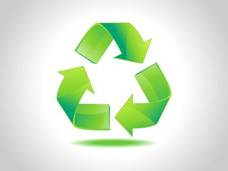 abstract shiny green recycle icon Stock Vector - 10276379