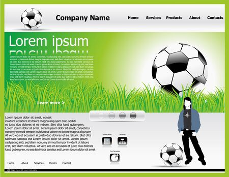 high tech world: abstract web template with football & grass