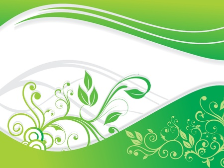 abstract green floral with wave  Vector