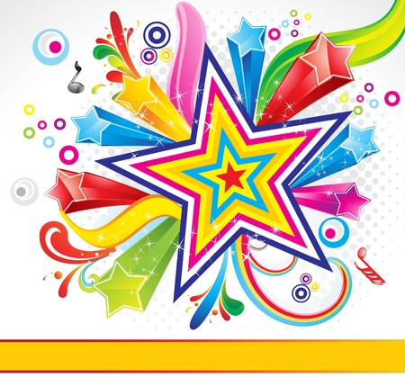 music poster: abstract colorful explode background with star vector illustration
