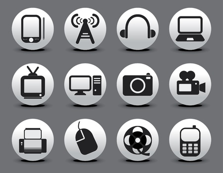 tv icon: abstract electronic web icon set vector illustration  Illustration