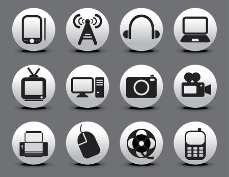 abstracto icono de la Red Electrónica conjunto ilustración vectorial