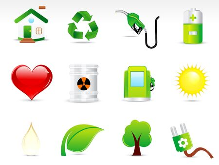 leave: abstract green eco icon set vectot illustration