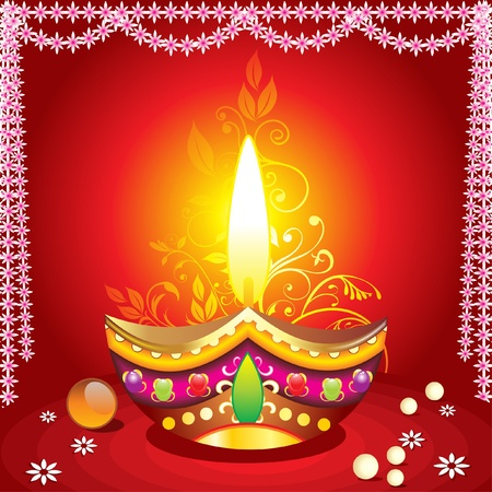 absrtract diwali background with deepak illustration