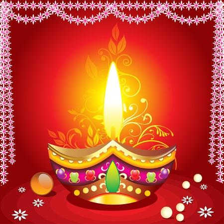 deepawali: absrtract fondo de diwali con deepak ilustraci�n Vectores