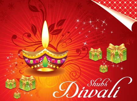 abstract deewali background with girt box illustration