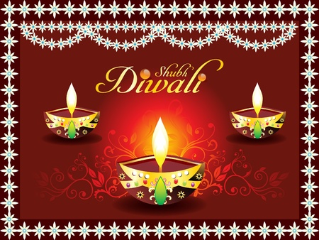 abstract diwali concept with deepak illustration Vector