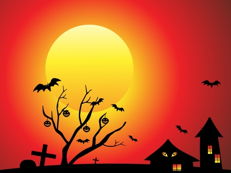 horror house: fondo abstracto de halloween con el �rbol. Vectores