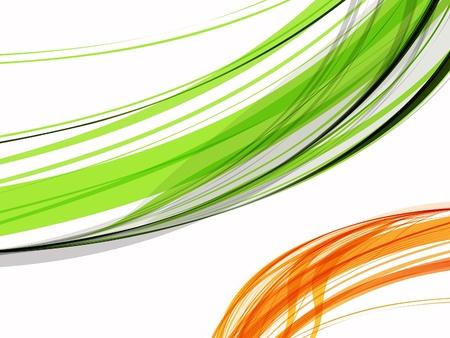 illustration line art: abstract green & orange wave vector illustration  Illustration