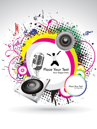 ink spill: abstract colorful musical banner with grunge vector illustration