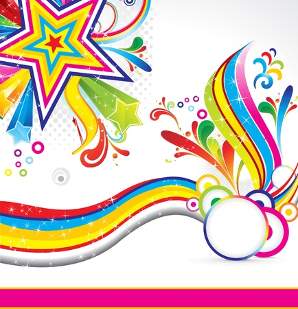 abstract colorful star backgorund with wave vector illustration