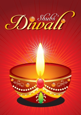 abstract diwali background with raise vector illustration  Stock Vector - 10998655