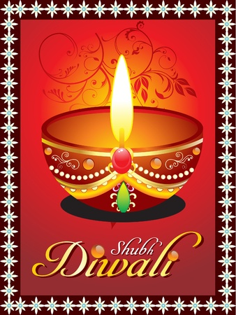 abstract diwali greeting card with floral Vector