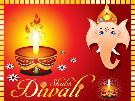 indian light: resumen de Diwali tarjetas de felicitaci�n con la ilustraci�n vectorial ganesh ji Vectores