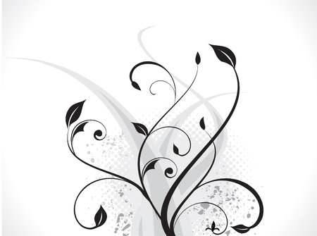abstract floral with wave & grunge vector illustratation  Vector
