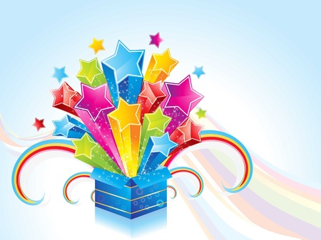 abstract magic box with wave vector illustration