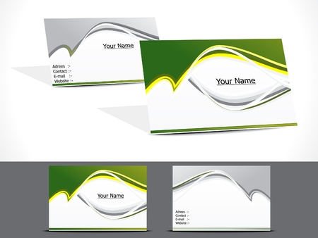 visiting: abstract green business card vector illustration