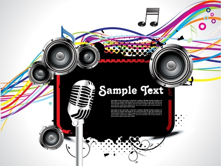 abstract musical background with wave vector illustration