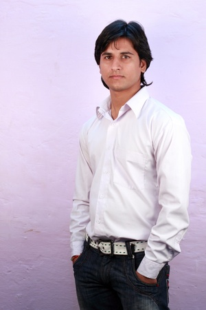 yong indian male model wearing shirt close up Stock Photo - 11587591