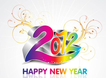 abstract colorful new year background with floral vector illustrtration  Vector