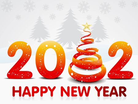 abstract new year background with christmas tree vetor illustration