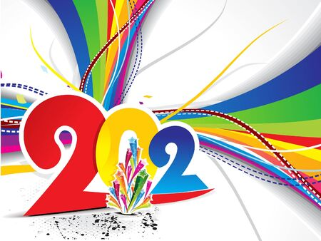 abstract colorful new year background with wave vector illustration  Vector