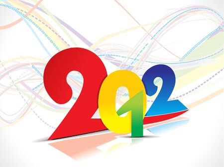 hollyday: colorful 2012 new year wave background vector illustration