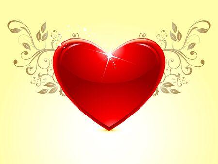 febuary love glossy shiny creative: Abstract glossy heart
