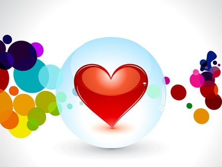 abstract glossy heart in globe Vector