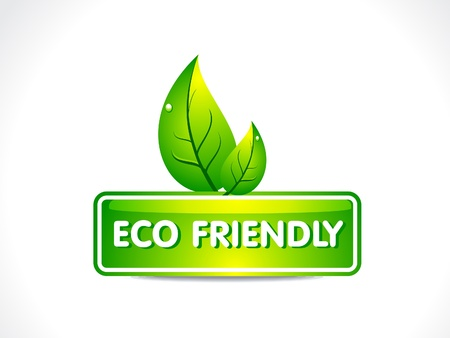 environment friendly: abstract eco button with leaf vector illustration