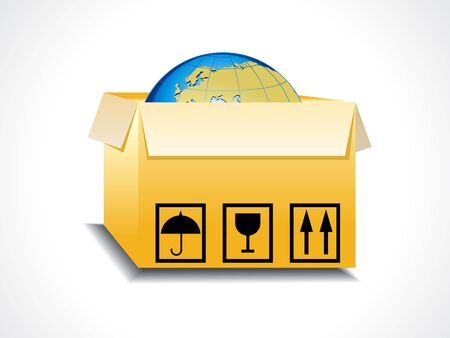 boxboard: abstract box icon with globe vector illustration  Illustration
