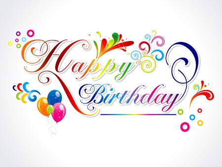 abstract colorful happy birthday card vector illustration