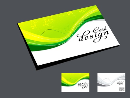 inserting: abstract green wave business card illustration  Illustration