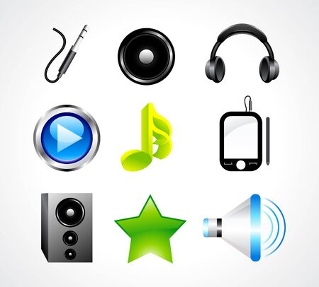 electronic music: abstract glossy music icon set