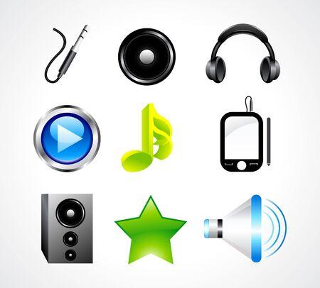 music dj: abstract glossy music icon set