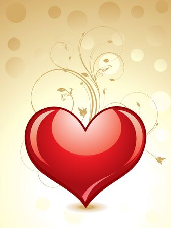 abstract glossy heart with floral vector illustration  Illustration